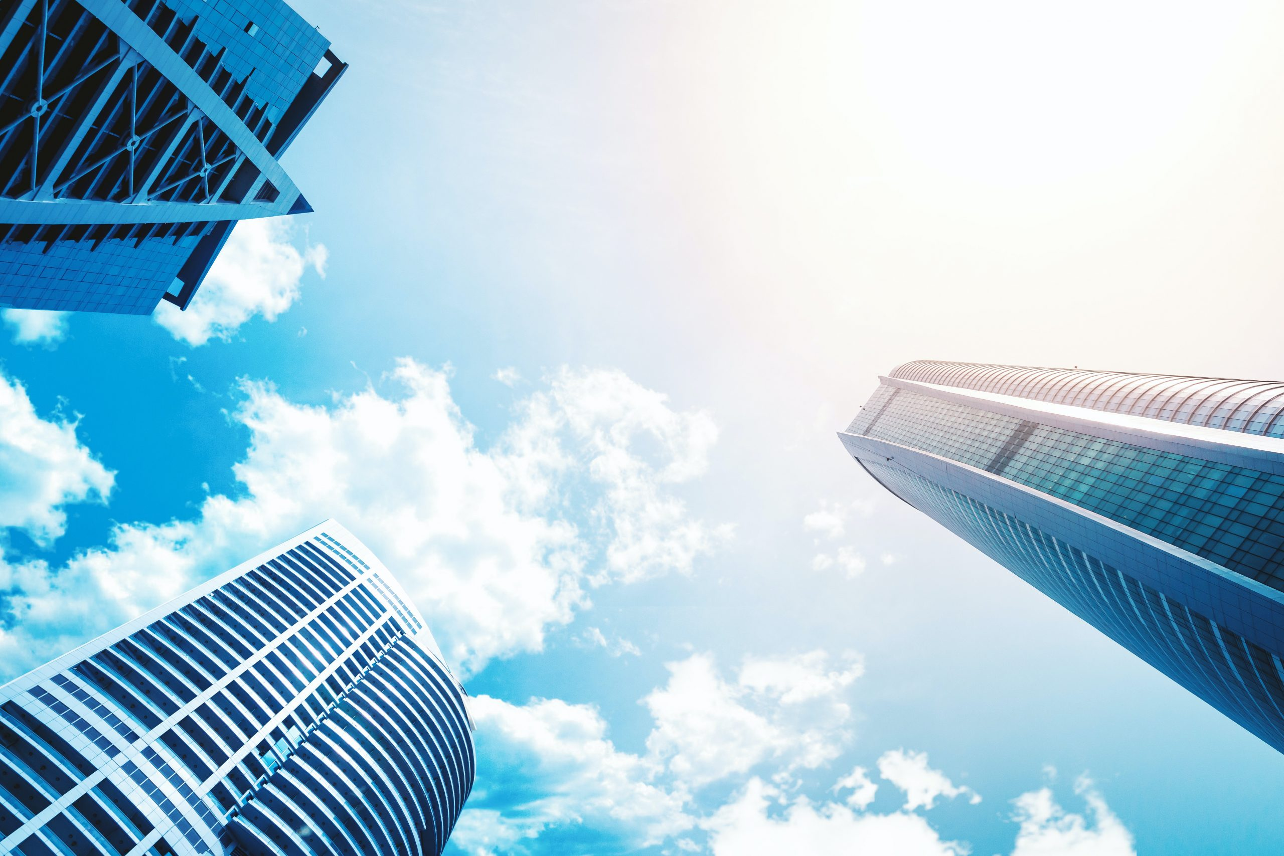 clouds and business buildings