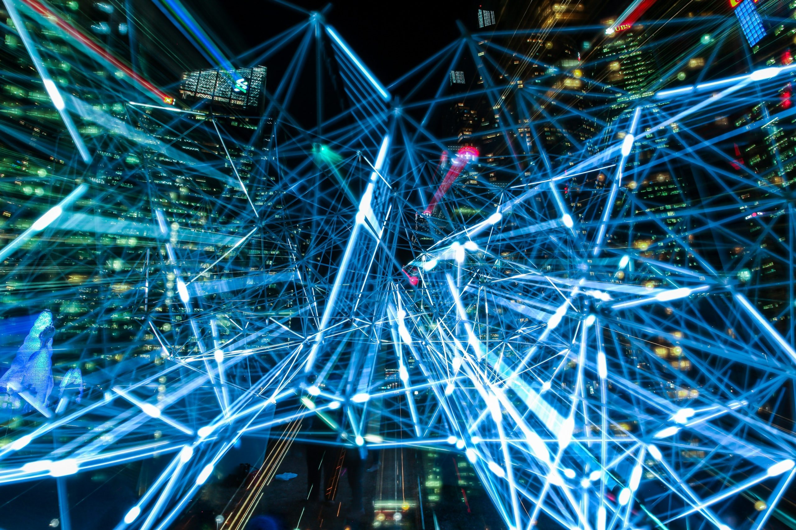 big data and blue lights